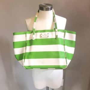Kate Spade High Falls green white striped tote